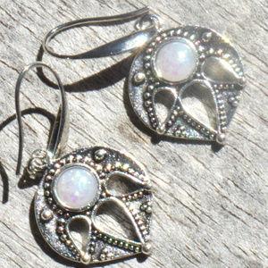 Moonstone Opal Shield Cutout Bali Earrings Silver